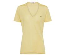 T-Shirt mit V-Ausschnitt creme / gelb