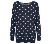 Oversize Pullover 'dotty' navy / weiß