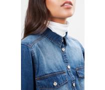 Jeansbluse im Used-Look blau