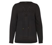 Bluse mit Schnürung schwarz