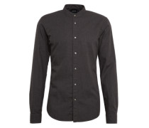 Hemd 'Collarless shirt in light weight brushed cotton melange qual'