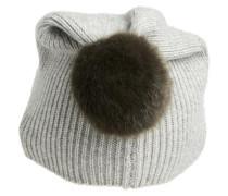 Kaschmir-Mütze grau / dunkelgrün