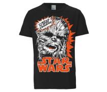"T-Shirt ""Chewbacca"" dunkelorange / schwarz / weiß"