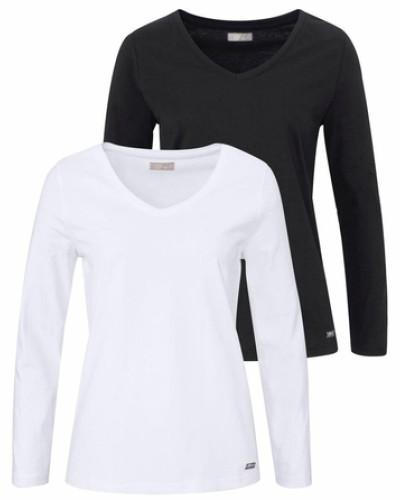 cheer damen langarmshirt schwarz wei reduziert. Black Bedroom Furniture Sets. Home Design Ideas