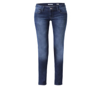 Skinny Jeans mit Kontrast-Stitching 'Lindy' blau