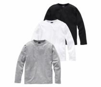 Langarmshirt (Packung 3 tlg.) graumeliert / schwarz / weiß