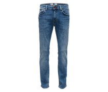 Jeans mit Used-Waschung 'Bleeker' dunkelblau