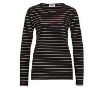 Streifen-Shirt mit Stasssteinen schwarz