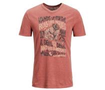 Print-T-Shirt anthrazit / pastellrot
