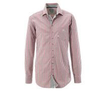 Trachtenhemd mit Kontrastmanschetten grasgrün / rot / weiß