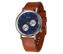 Armbanduhr 'Walther' blau / cognac