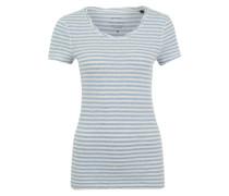 T-Shirt getwistetem Rundhalsausschnitt hellblau / weiß
