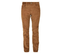 'Close' Slim: Hose aus weichem Cord cognac