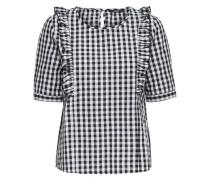 Rüschen-Shirt 'Pepita' schwarz / weiß