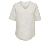 V-Ausschnitt-Strickpullover weiß