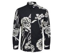 Slim Fit Hemd Blumendruck schwarz / weiß