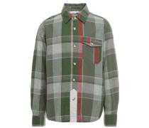 Langärmeliges kariertes Hemd grün / blutrot / naturweiß
