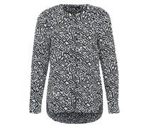 Bluse mit Allover-Print blau / weiß