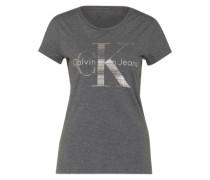 Shirt mit Logo-Print grau