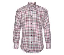 Hemd 'shhonegingham Shirt LS NO' grau / dunkelrot / weiß