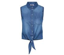 ärmelloses Denim-Hemd blau