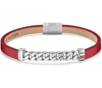 Lederarmband 'Men's Casual' rot