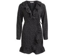 Kleid Gepunktetes Wickel schwarz / weiß