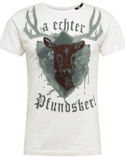 T-Shirt 'e21 Pfundskerl ' hellgrau / weiß