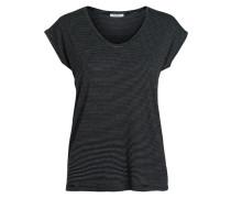 Mini-Streifenmuster-T-Shirt schwarz
