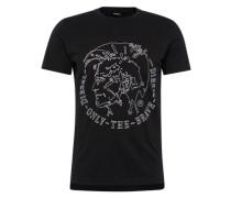 T-Shirt 'T-Edward' mit Marken-Applikation vorne schwarz / weiß