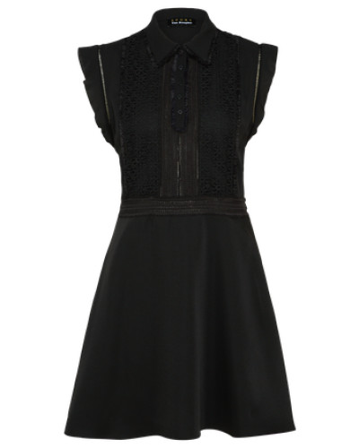 Kleid 'mix Crepe AND Lace' schwarz