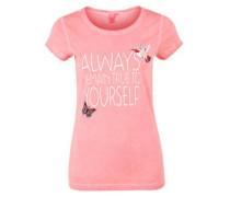Printshirt mit Stitchings apricot / altrosa