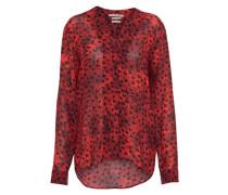 Bluse mit Stehkragen rot / schwarz