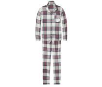 Schlafanzüge 'Arah brushed flannel set' beige / rot / schwarz
