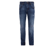 Tubx Straight: Destroyed Jeans blau