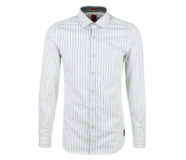 Slim: Gestreiftes Baumwollhemd weiß