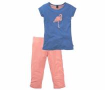 Shorty für Mädchen mit Flamingodruck royalblau / lachs