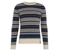 Pullover 'Jaquard Round Neck Knit' dunkelblau / rot / weiß