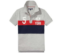 T-Shirt »Colorblock Polo 2 S/s« navy / graumeliert / rot