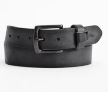 Ledergürtel mit Vintage-Schließe schwarz
