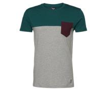T-Shirt mit Brusttasche graumeliert / dunkelgrün