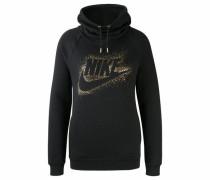 Kapuzensweatshirt 'nsw Rally Hoodie Metallic' gold / schwarz