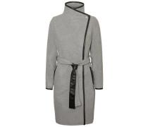 Woll-Mantel grau / schwarz