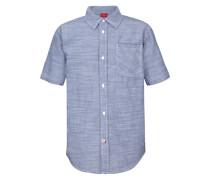 Kurzarmhemd mit Webstreifen blau
