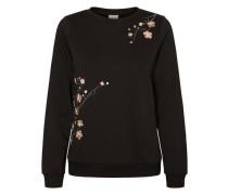 Blumen-Sweatshirt schwarz