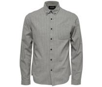 Detailliertes Langarmhemd grau / schwarz