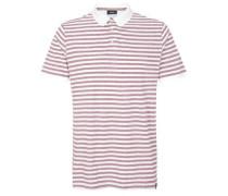 Geringeltes Poloshirt aus Jersey pastellrot / weiß