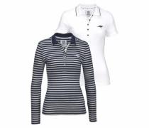Langarm-Poloshirt (Set 2 tlg. mit T-Shirt) marine / grau / weiß
