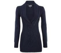 Pullover mit abnehmbarer Brosche blau