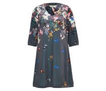 Samt-Kleid mit blumiger Musterung dunkelgrau / mischfarben